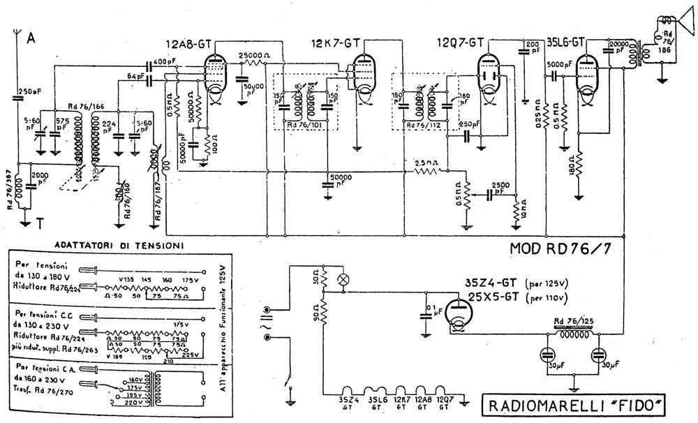 Schema elettrico del RadioMarelli Fido