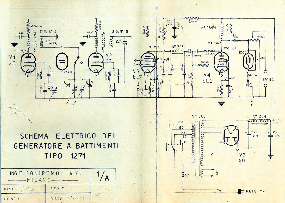 Generatore di frequenza O.H.M. mod. 1271 - schema elettrico