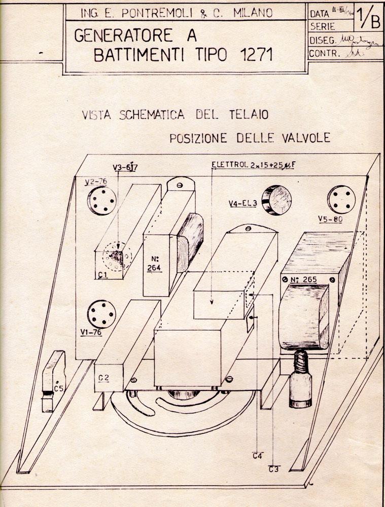 Generatore di frequenza O.H.M. mod. 1271 - disegno costruttivo