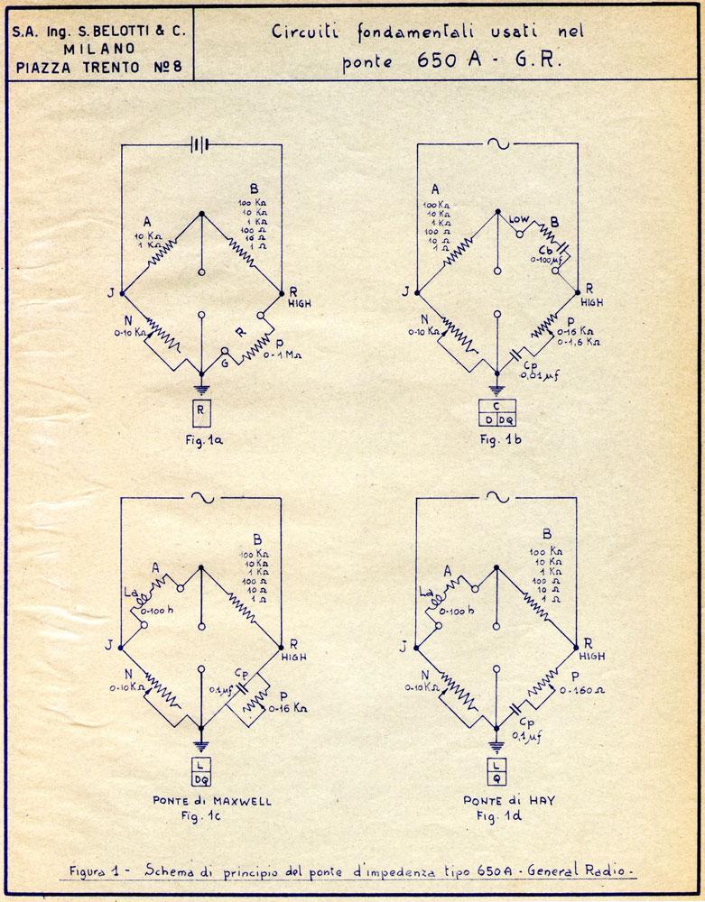 Ponte di misura R.C.L. General Radio mod. 650-A - schema di principio dei ponti di misura