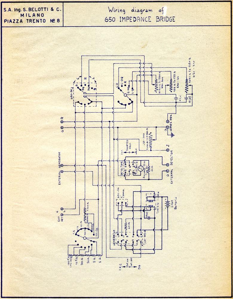 Ponte di misura R.C.L. General Radio mod. 650-A - schema elettrico generale