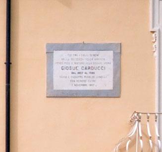 Fig.2 la targa che testimonia la permanenza di Carducci