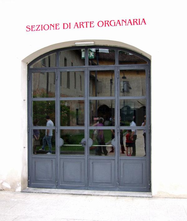 L'ingresso del museo di organaria della città di Crema.