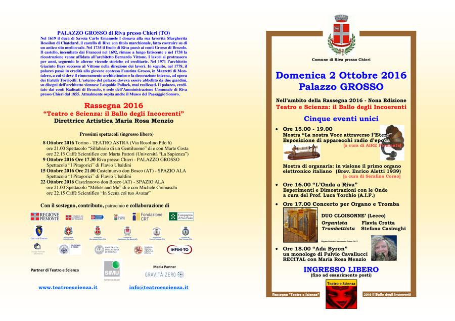programma Riva di Chieri, 2 ottobre 2016 - fronte