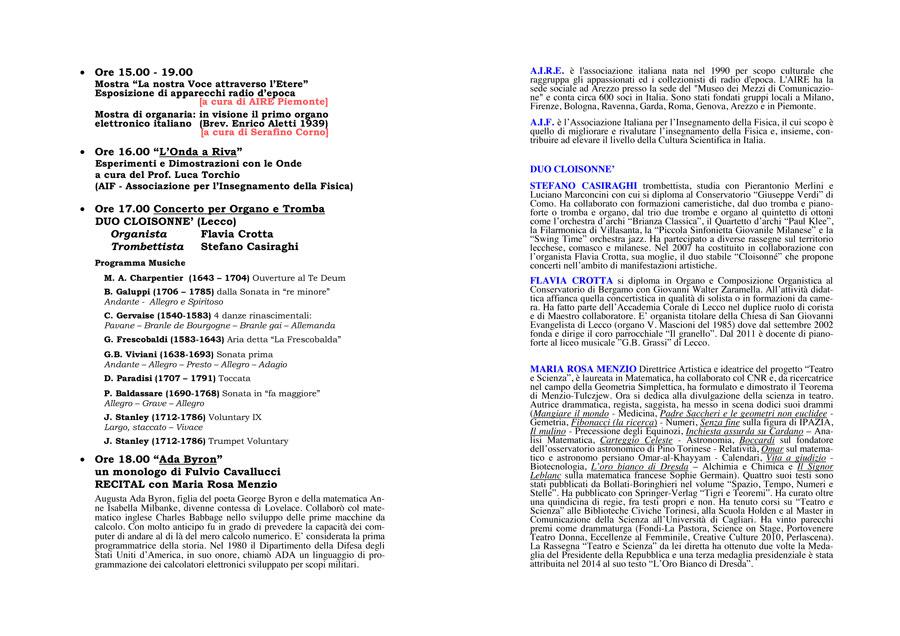 programma Riva di Chieri, 2 ottobre 2016 - retro