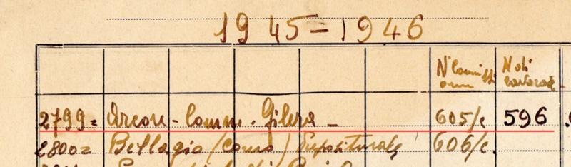 Figura 2. Scansione di uno stralcio del quaderno che riporta parte dell'elenco con i lavori effettuati dalla ditta Aletti nel periodo 1945-46. Da questa scansione è possibile osservare che l'organo di Arcore è stato costruito con il numero di serie 596, su commissione del Comm. Gilera.
