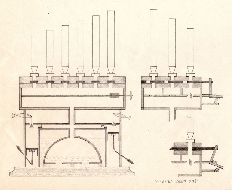 Disegno dell'organo idraulico di Ctesibio (III° secolo a.C.)