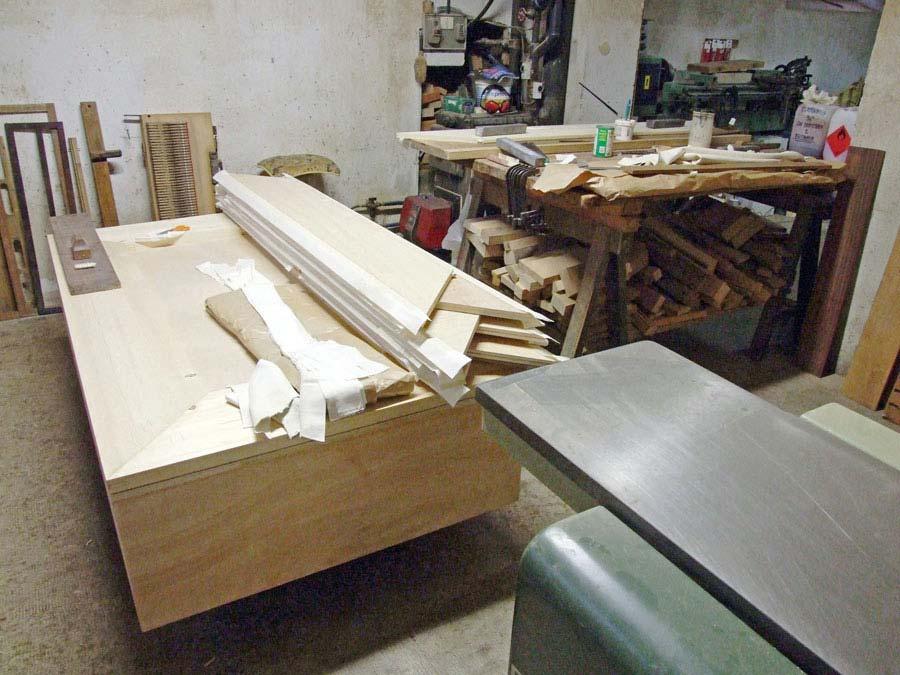 Mantice dell'organo Espressivo-Positivo in costruzione.