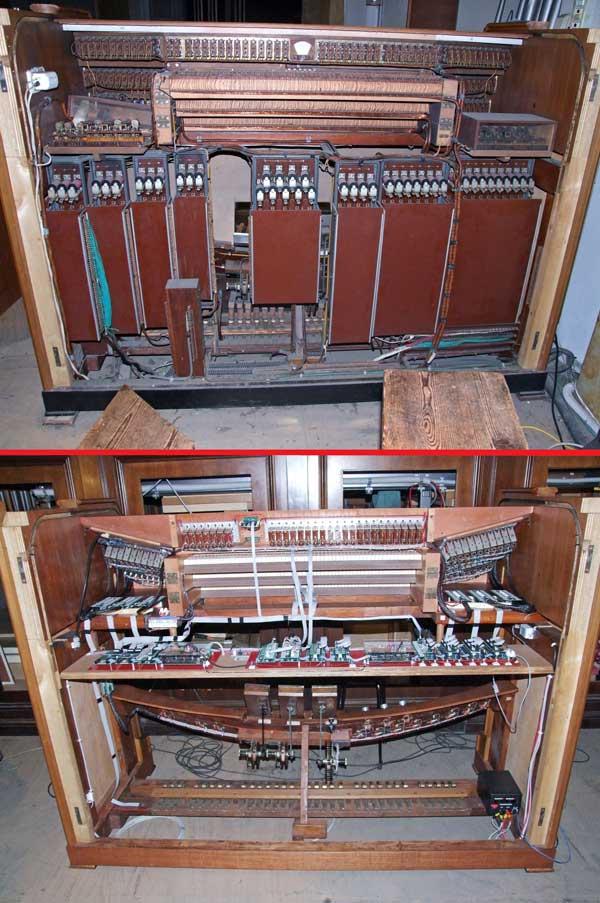 Consolle elettromeccanica del grande organo della Collegiata di Seregno.