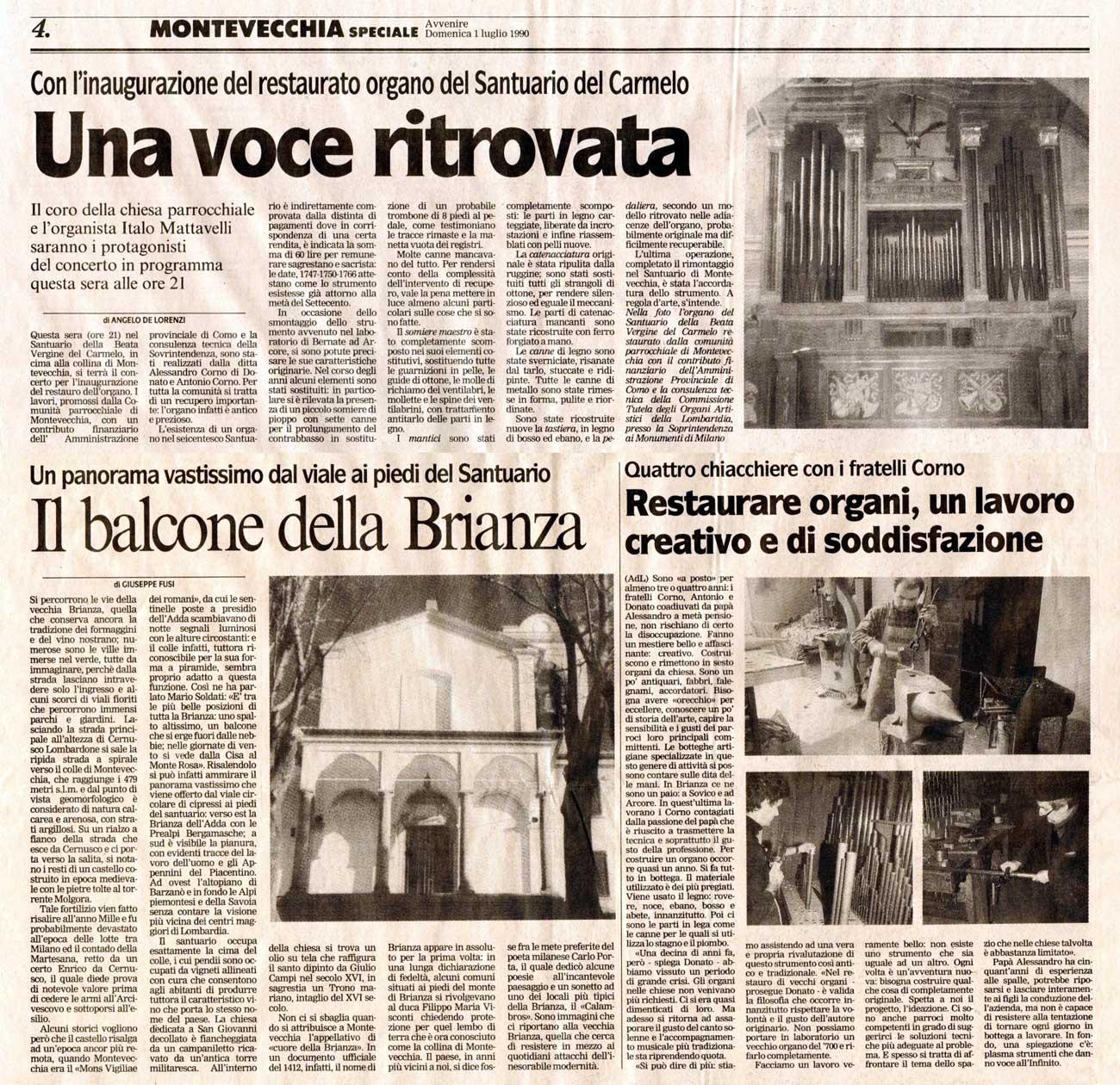 Avvenire, domenica 1 luglio 1990, MONTEVECCHIA SPECIALE