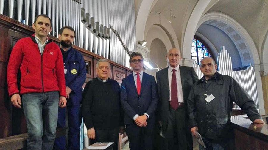 Antonio Corno, Serafino Corno, Mons. Bruno Molinari, Edoardo Mazza Sindaco di Seregno, Carlo Perego, Donato Corno