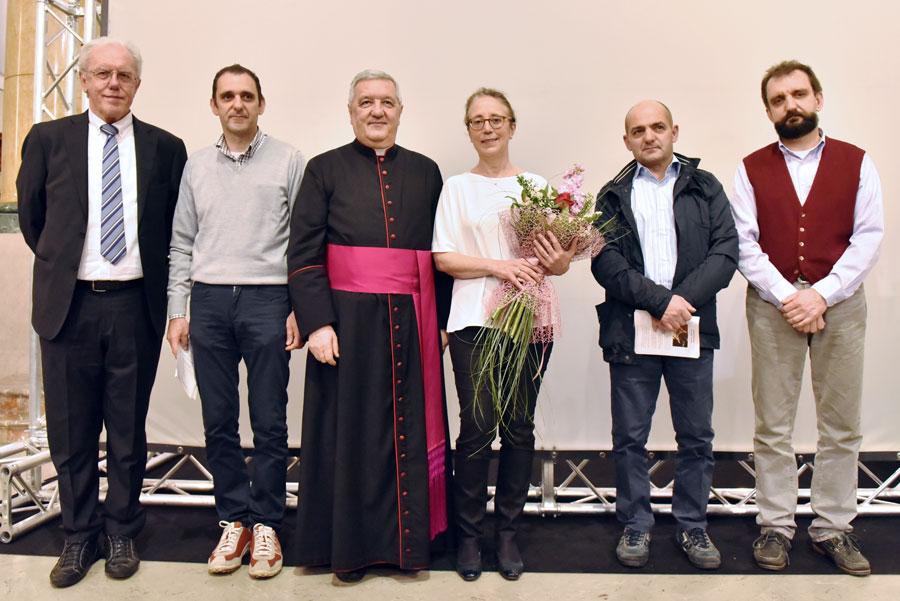 Luigi Losa, Antonio Corno, Mons. Bruno Molinari, Sophie-Véronique Cauchefer-Choplin, Donato Corno, Serafino Corno (foto Francesco Viganò)