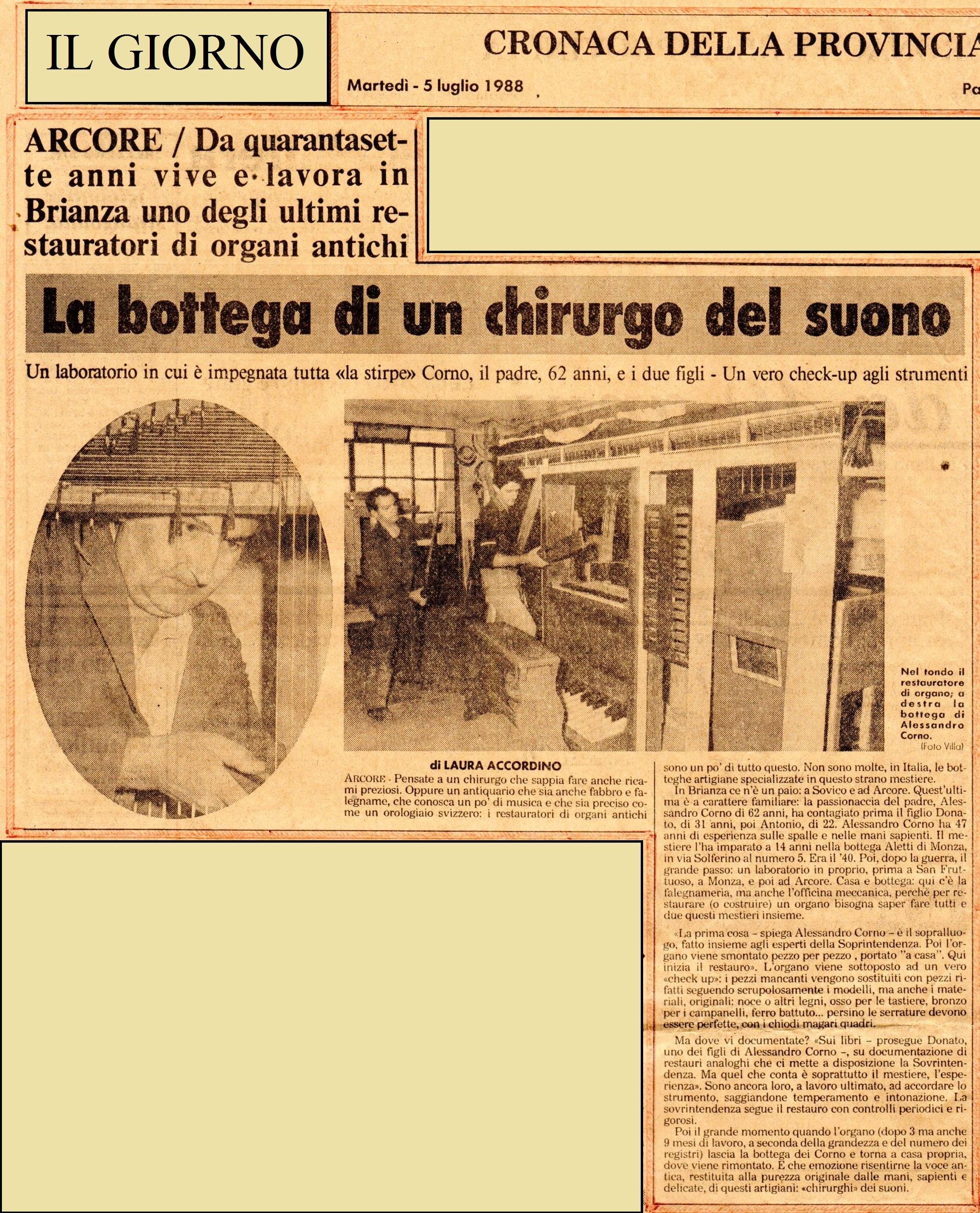 """Articolo de """"Il Giorno"""" del 5 luglio 1988"""