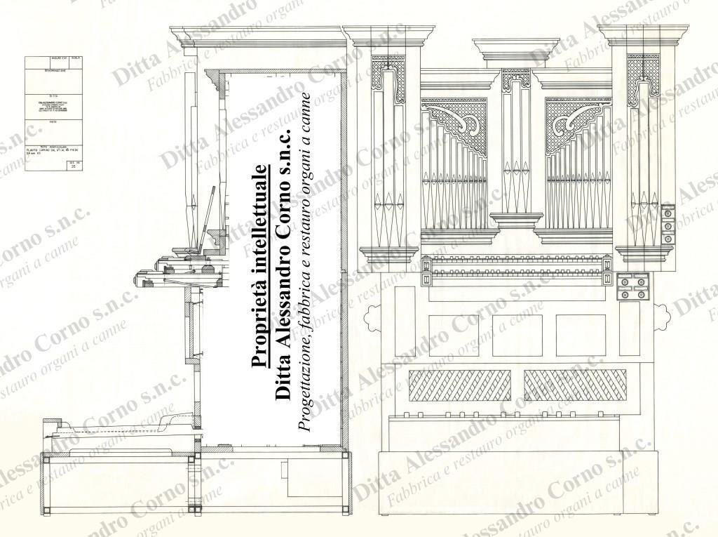 Il progetto esecutivo dell'organo costruito per l'organista Walter Mauri