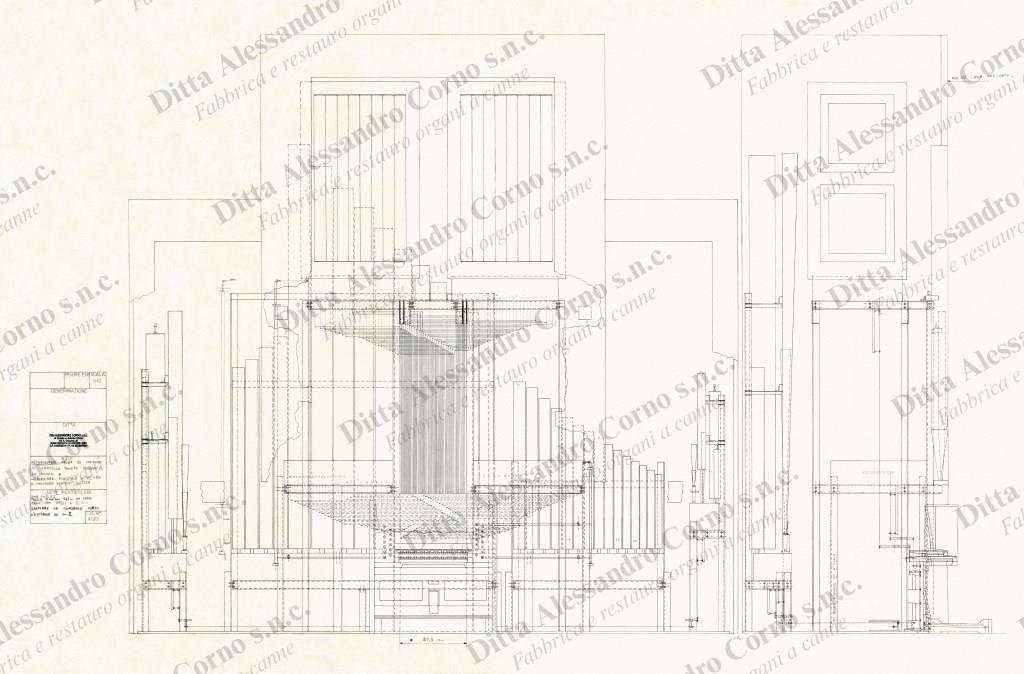 Progetto esecutivo (vista frontale e laterale) del nuovo organo della Parrocchia di S. Ambrogio di Merate.