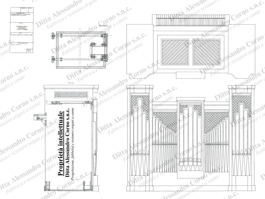 Il progetto esecutivo del nuovo organo positivo costruito per l'organista Flavia Crotta
