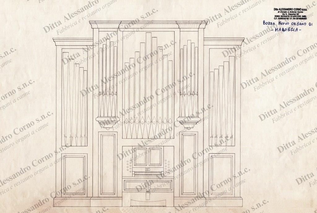 La bozza iniziale del progetto per il nuovo organo della Chiesa di Maroggia (Canton Ticino - Svizzera)