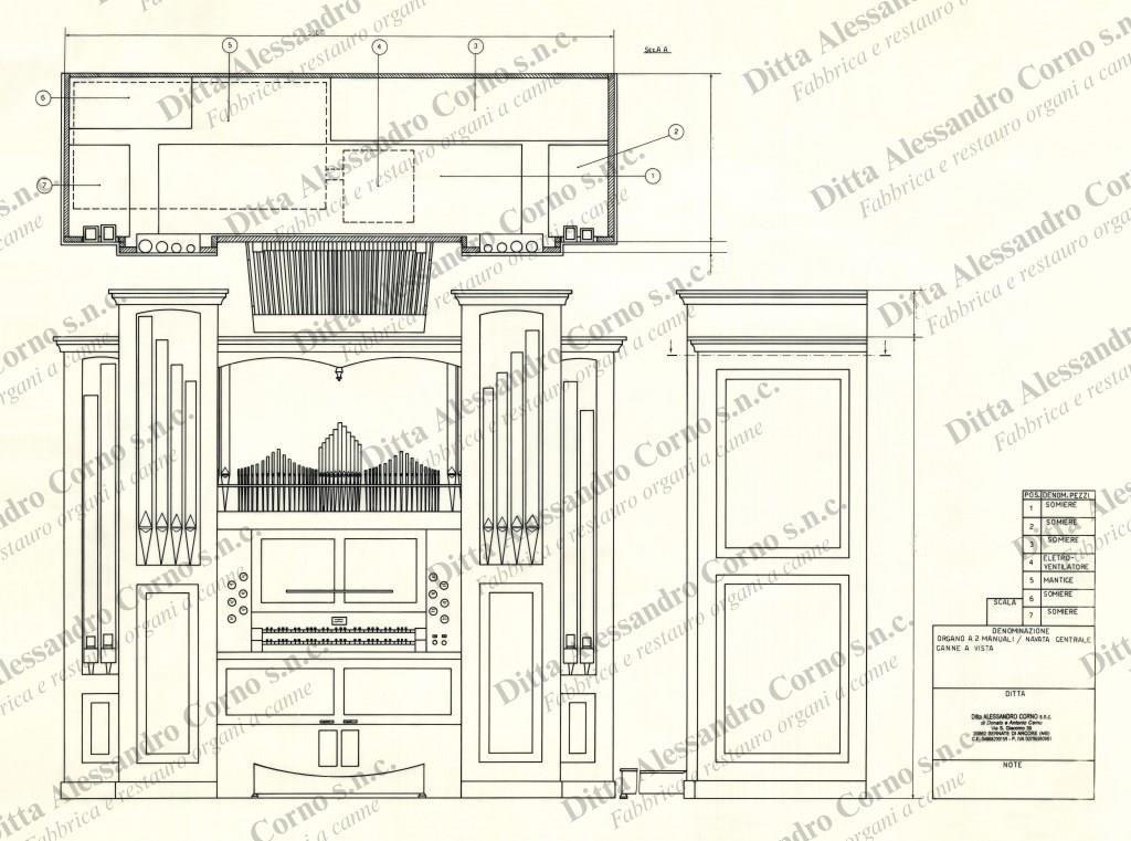 Il progetto esecutivo del nuovo organo costruito per il Maestro Sergio Paolini di Busto Arsizio (VA).