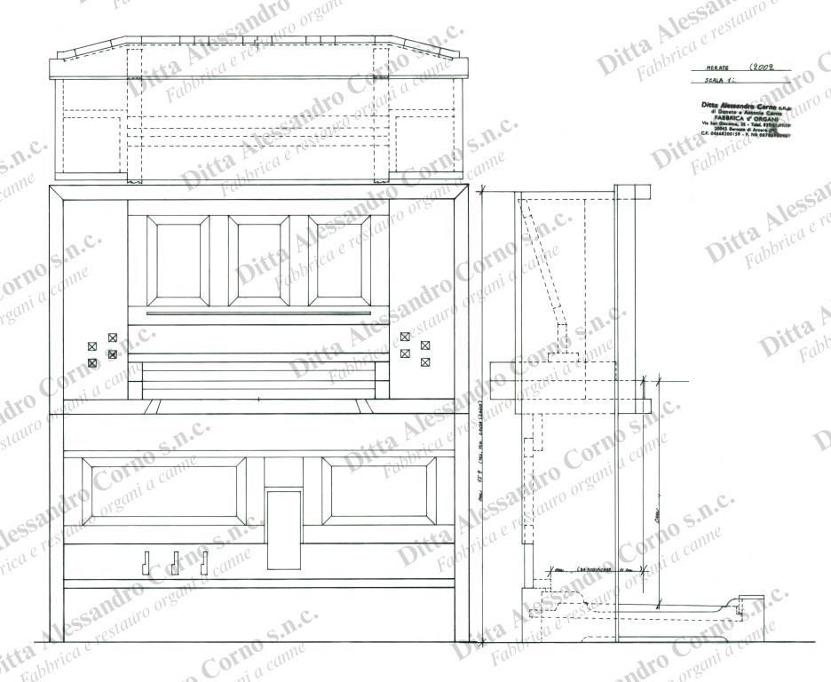 Progetto esecutivo (vista frontale) del mobile consolle del nuovo organo della Parrocchia di S. Ambrogio di Merate.