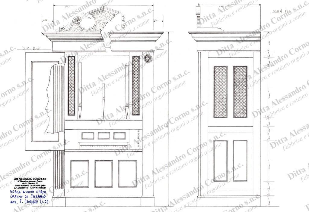 Il progetto della nuova cassa per l'organo sito ora nella chiesa di S. Giorgio in Crebbio (LC)