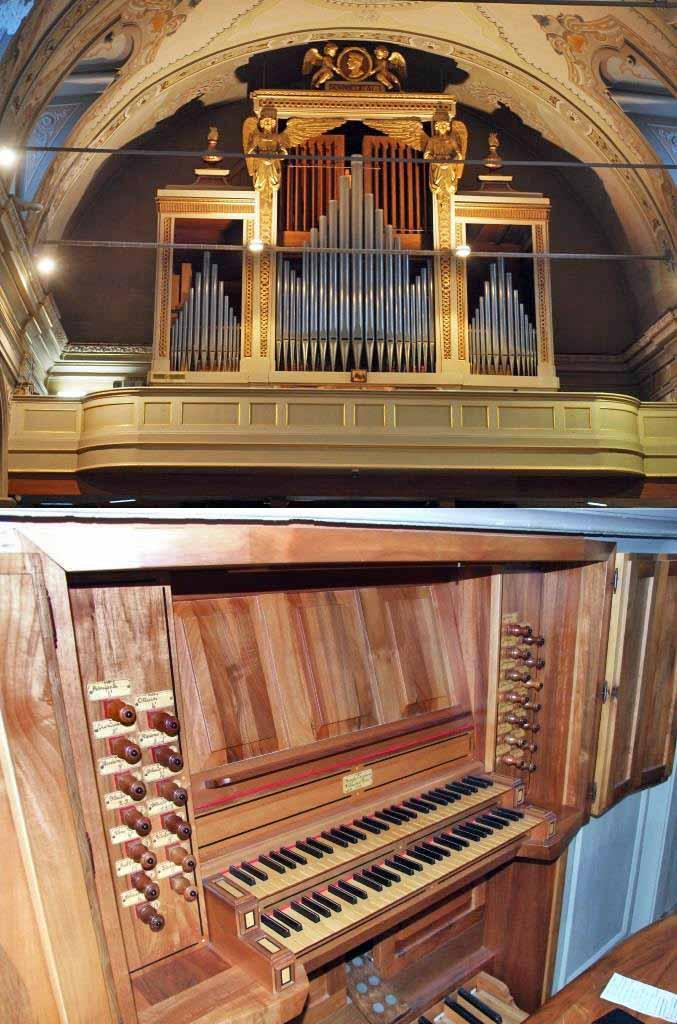 il nuovo organo della Parrocchia di S. Ambrogio di Merate (foto sopra). La nuova consolle con le ante di protezione aperte (foto sotto).