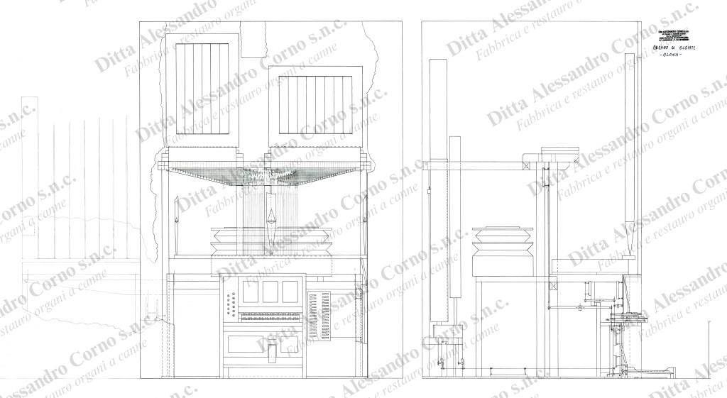 Il progetto esecutivo (vista frontale e laterale) dei lavori di rifacimento all'organo della Parrocchia di Olgiate Olona (Va)