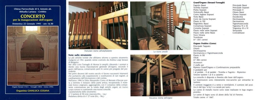 Il dépliant stampato in occasione dell'inaugurazione dell'organo della Chiesa Parrocchiale di Crebbio (LC)