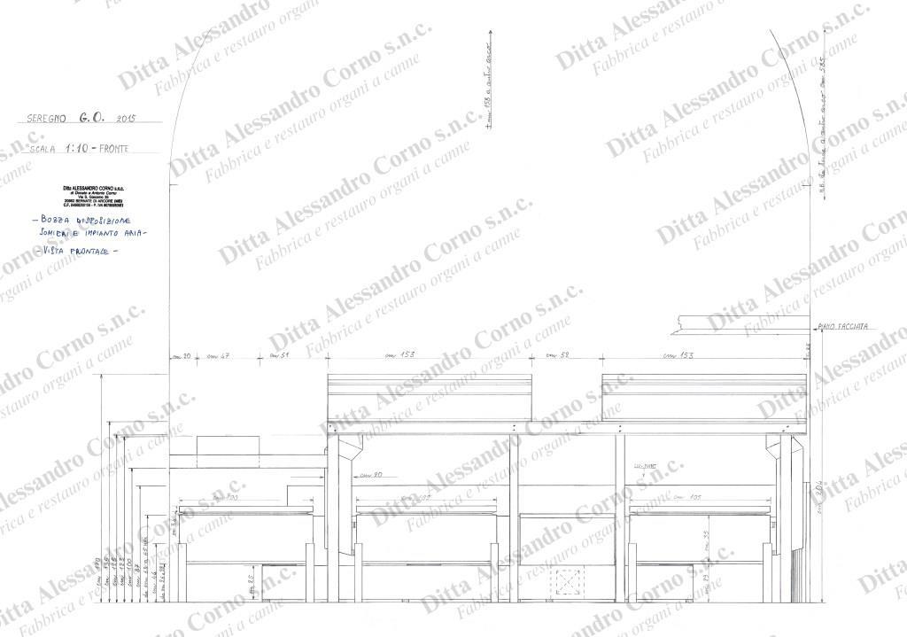 Bozza con la vista frontale della disposizione dei nuovi somieri del Grand'Organo della Basilica di Seregno (MB)