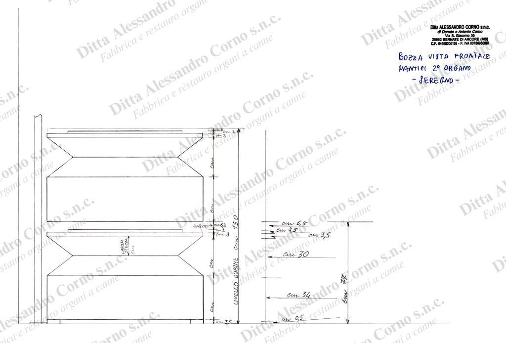 Bozza con la vista frontale della disposizione dei nuovi mantici dell'Organo Positivo della Basilica di Seregno (MB)
