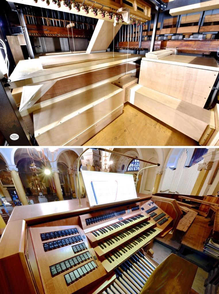 Interno del Grand'Organo e consolle del Grande Organo della Basilica di Seregno (MB) a lavori ultimati