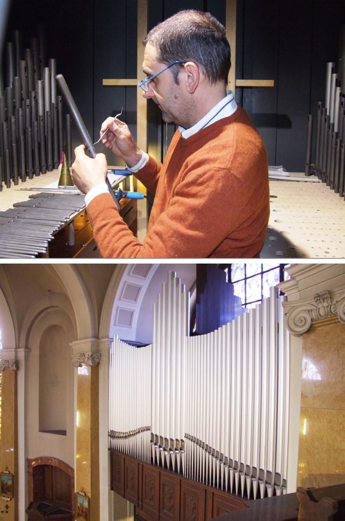 Antonio Corno mentre intona una canna del Grand'Organo della Basilica di Seregno (foto sopra). L'Organo Positivo della Basilica di Seregno ripreso il giorno stesso
