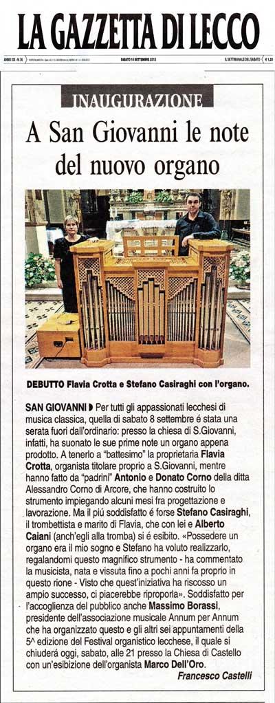 La Gazzetta di Lecco, sabato 15 settembre 2012
