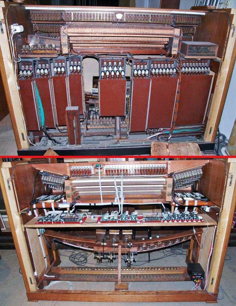 la stessa consolle con i due sistemi: elettromeccanico (immagine superiore) elettronico digitale (immagine inferiore).