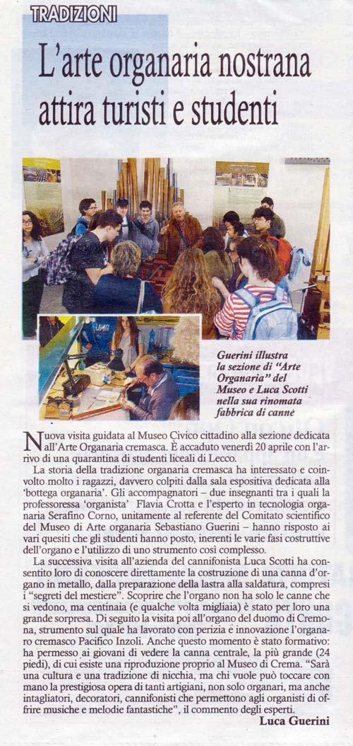 Figura 1 L'articolo di giornale che descrive la visita al Museo di organaria e alla ditta Scotti.