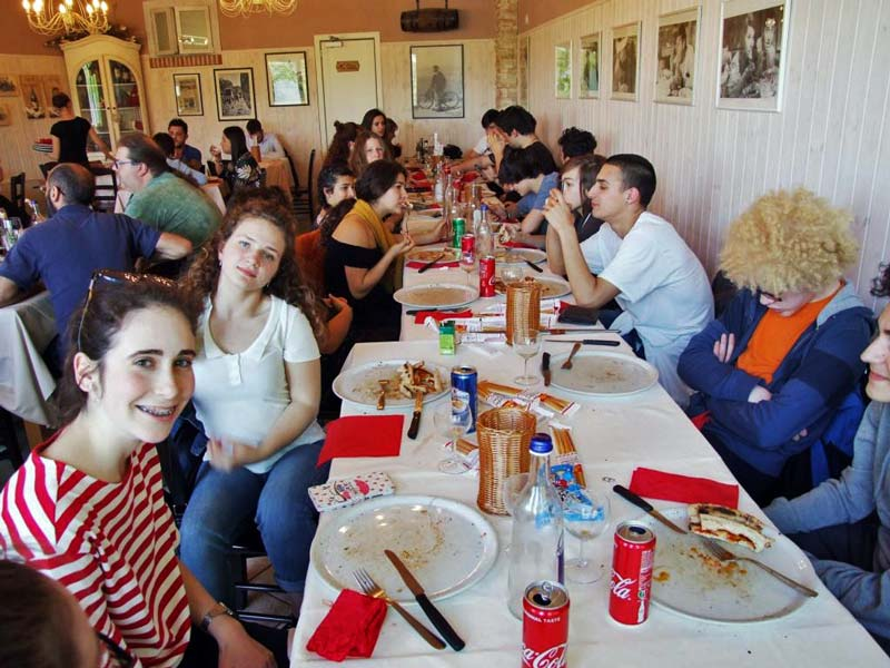"""Figura 17 - Dopo una mattinata intensa gli studenti hanno potuto """"ricaricare le batterie"""" presso un ristorante-pizzeria poco distante dal sito produttivo della ditta Scotti."""