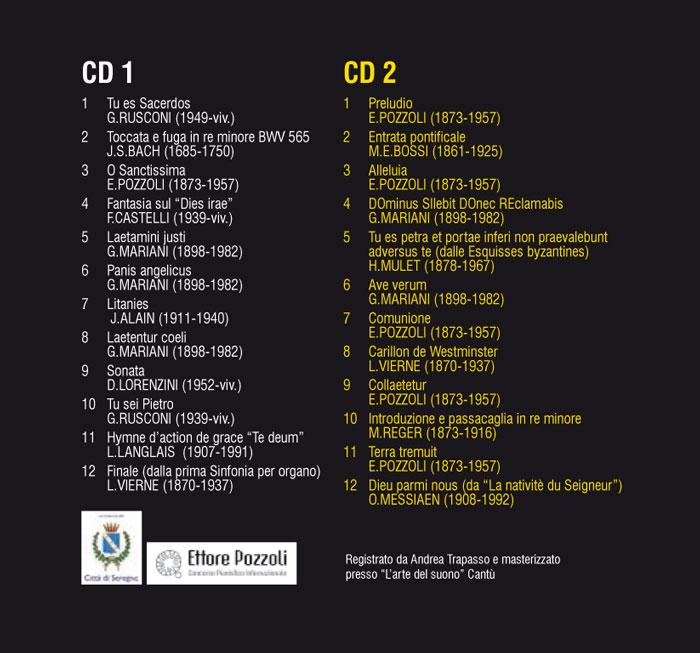 Retro copertina CD Serenius inter organum et cantus con elenco dei brani musicali