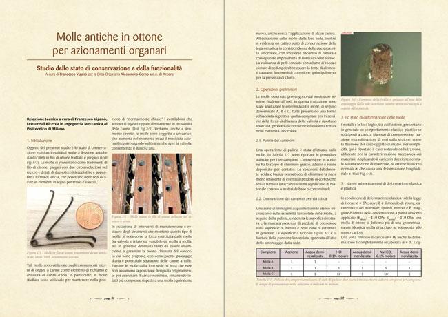L'arte organaria - Molle antiche in ottone per azionamenti organari