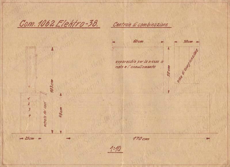Figura 12 - Il disegno con i riferimenti alla commessa 1062 Elektro 38.