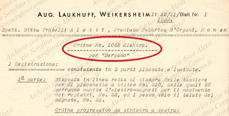 """Figura 13 - Stralcio della specifica di fornitura con i chiari riferimenti al contratto 1062 Elektro per """"Bergamo""""; la data del documento è la stessa della lettera di Laukhuff di Fig.11."""