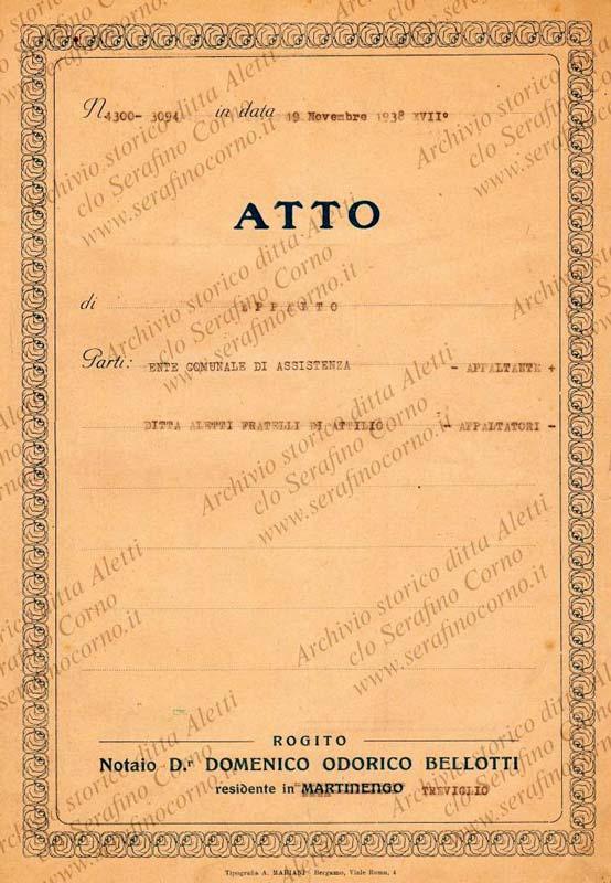 """Figura 14 - L'atto notorio stipulato tra la casa organaria """"Fratelli Aletti"""" e l'Ente Comunale di Assistenza finanziatore del progetto."""