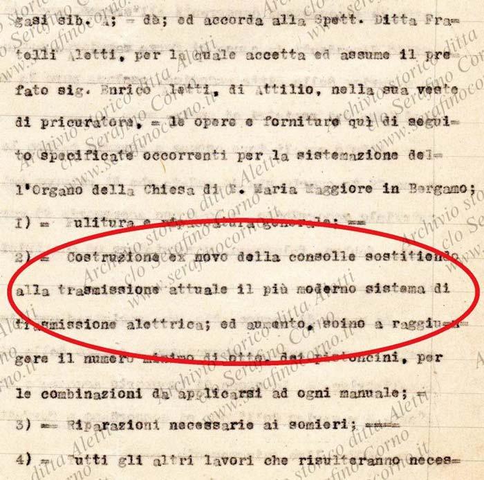 Figura 15 - Stralcio del contratto di Fig.14 che riporta chiaramente i riferimenti per la costruzione della nuova consolle a trasmissione elettrica da collocare all'organo sito nella chiesa di S.Maria Maggiore a Bergamo.