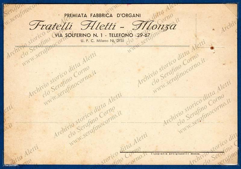 """Figura 18 - La cartolina postale stampata della casa organaria """"Fratelli Aletti""""."""