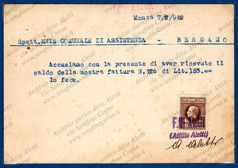 Figura 19 - La parte a tergo della stessa cartolina di Fig.18 con gli estremi della ricevuta di pagamento effettuato dall'Ente Comunale di Assistenza.