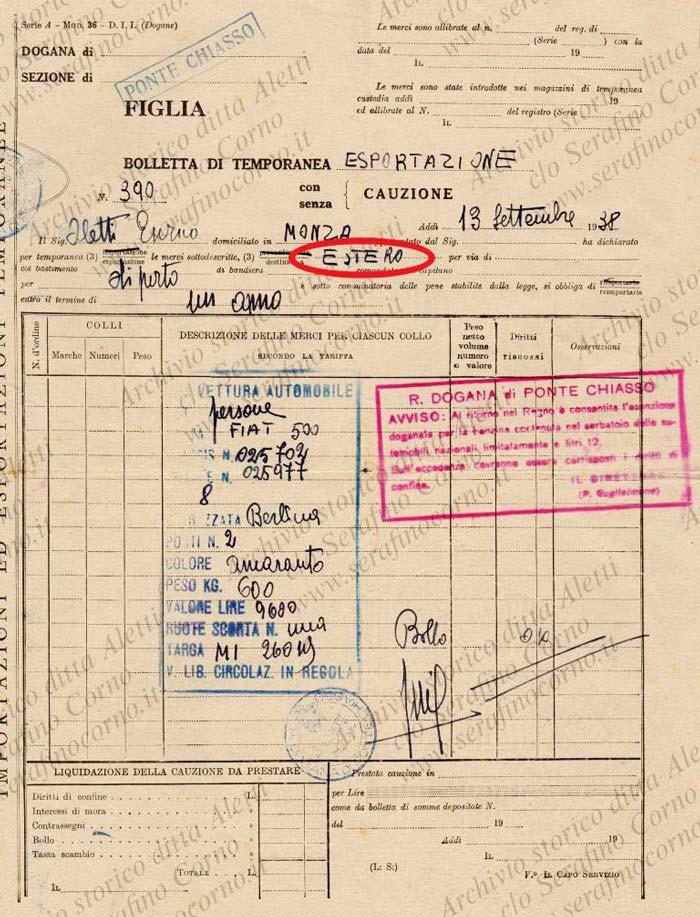 """Figura 2 - Il documento doganale datato 13 settembre 1938; in evidenza nell'ovale si legge chiaramente la destinazione """"Estero""""."""
