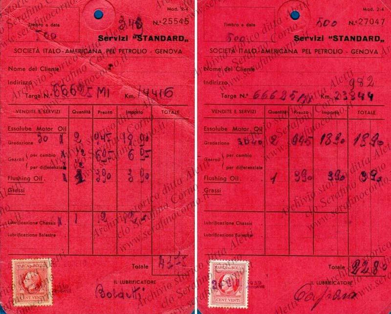 Figura 20 - I cedolini d'epoca che riportano l'avvenuto controllo manutentivo all'autovettura di Enrico Aletti Targata MI 66626.