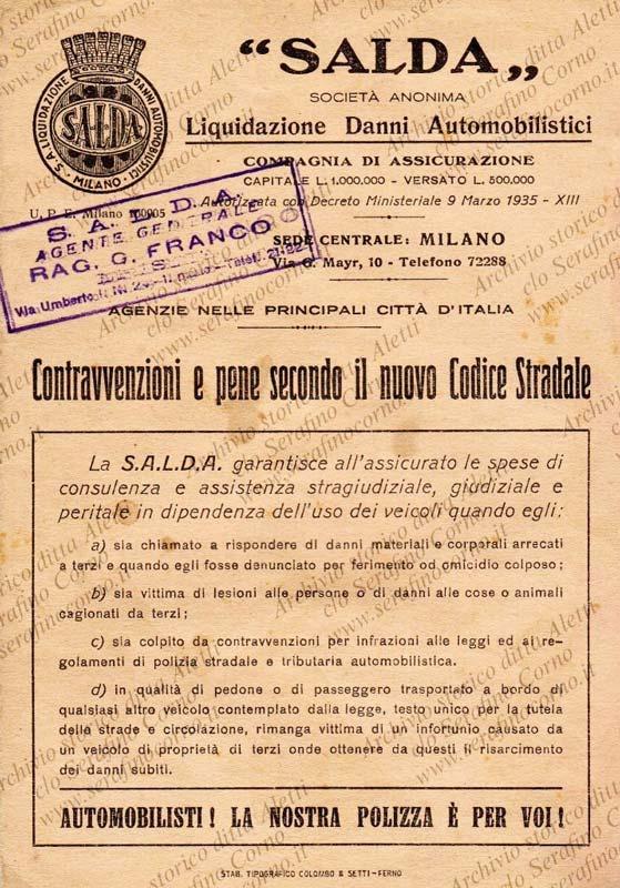 Figura 21 - La compagnia assicurativa con la quale Enrico Aletti nel 1938 aveva stipulato il contratto per la propria autovettura.