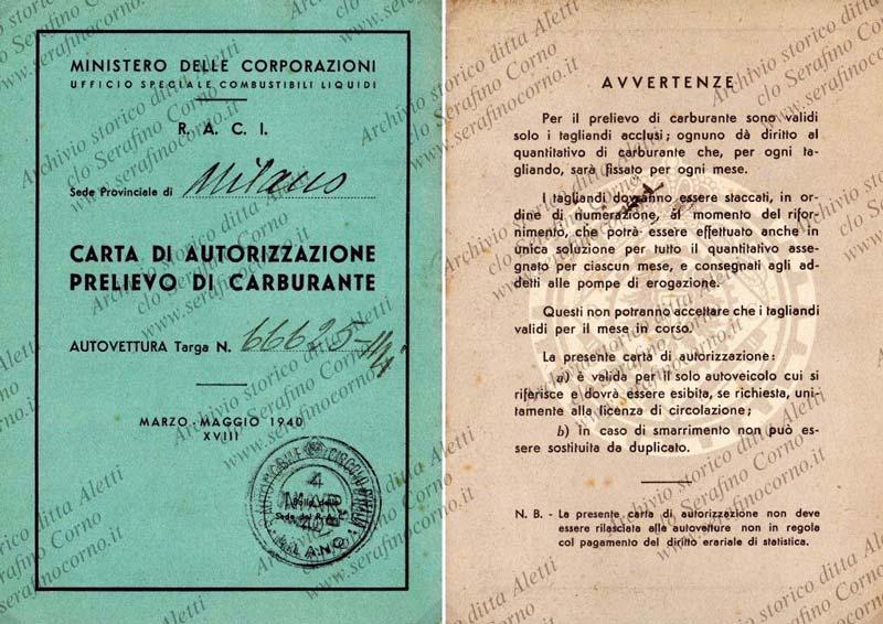 """Figura 22 - La tessera di """"regime"""" per il prelievo di carburante assegnato alla vettura di Enrico Aletti."""