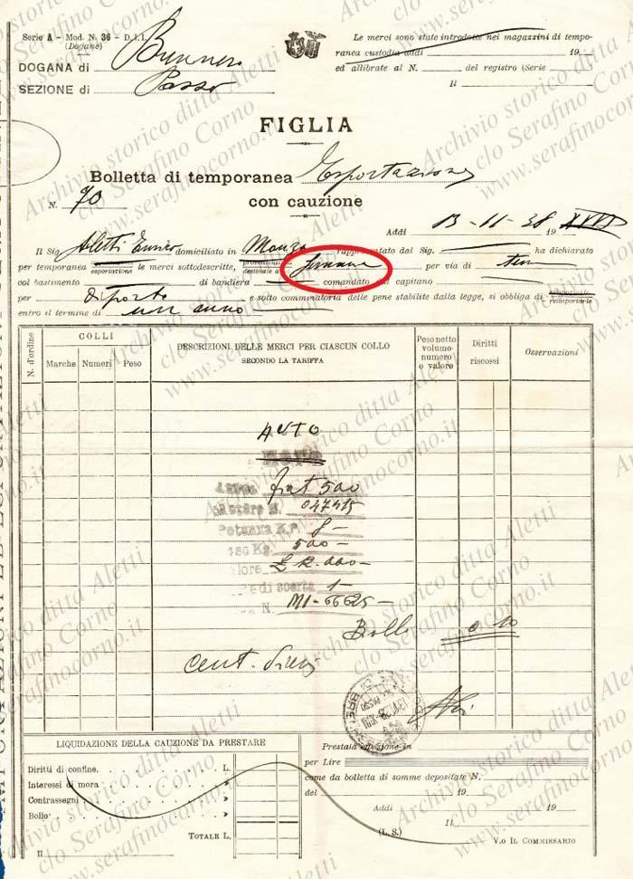 """Figura 6 - Il secondo documento doganale datato 13 novembre 1938 che è stato rinvenuto nell'archivio """"Aletti""""; come si può facilmente osservare, nella casella """"destinazione"""" evidenziata dall'ovale rosso, viene chiaramente indicato """"Germania""""."""