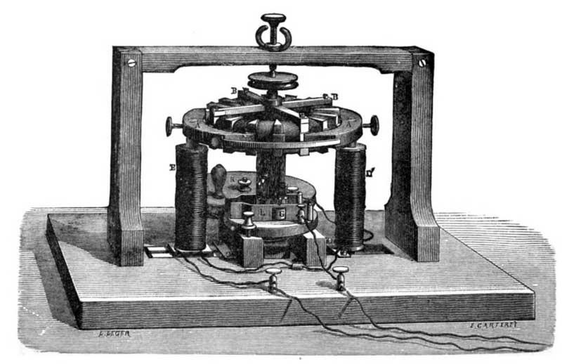Stampa d'epoca che raffigura il prototipo originale della dinamo di Pacinotti.