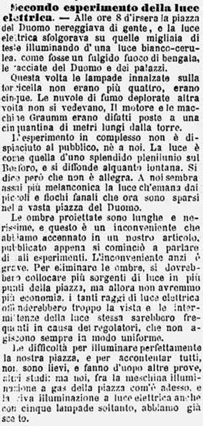Altro articolo del Corriere che riporta il secondo esperimento di illuminazione elettrica avvenuto in piazza Duomo a Milano; l'esperimento avvenne il 18 marzo 1877.
